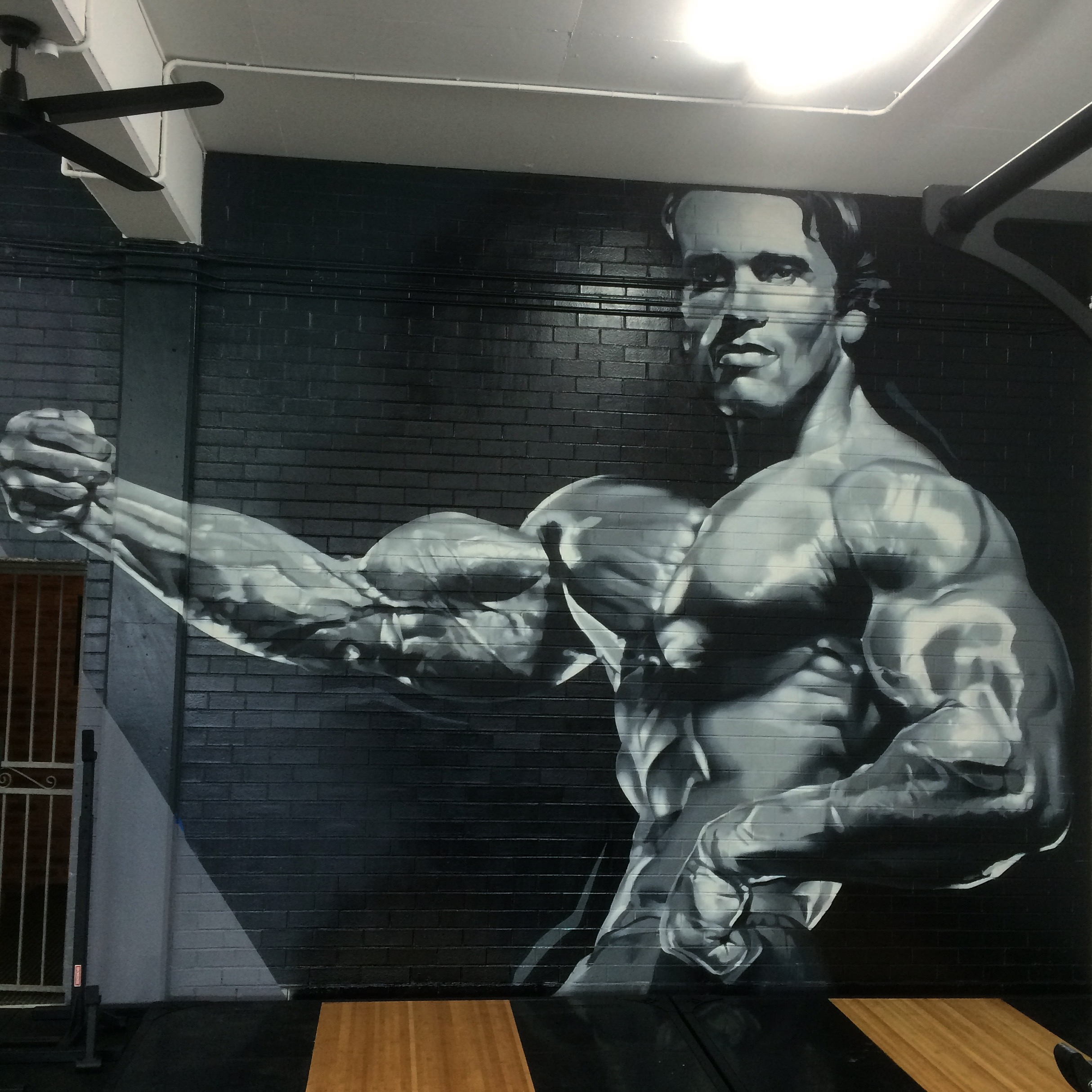 Arnold Schwarzenegger Spray Painting by Lee Harnden